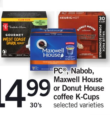 PC - Nabob - Maxwell House Or Donut House Coffee K-cups - 30's