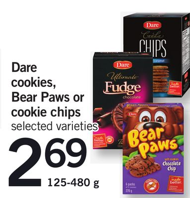 Dare Cookies - Bear Paws Or Cookie Chips - 125-480 g