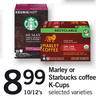 Marley Or Starbucks Coffee K-cups - 10/12's