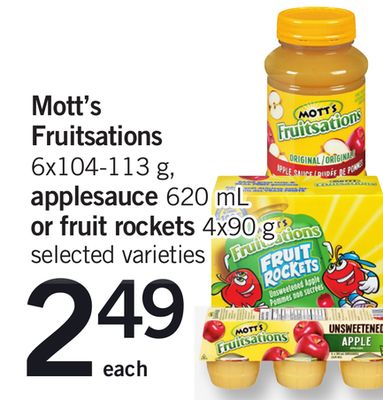 Mott's Fruitsations - 6x104-113 G - Applesauce 620 Ml Or Fruit Rockets - 4x90 G