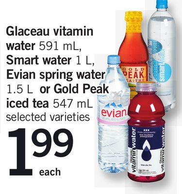 Glaceau Vitamin Water 591 Ml - Smart Water 1 L - Evian Spring Water 1.5 L Or Gold Peak Iced Tea - 547 Ml