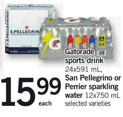 Gatorade Sports Drink 24x591 Ml - San Pellegrino Or Perrier Sparkling Water 12x750 Ml