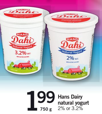 Hans Dairy Natural Yogurt 2% Or 3.2% - 750 g