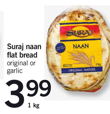 Suraj Naan Flat Bread Original Or Garlic - 1 Kg