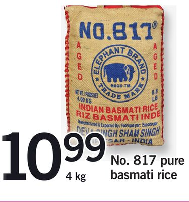 No. 817 Pure Basmati Rice - 4 Kg