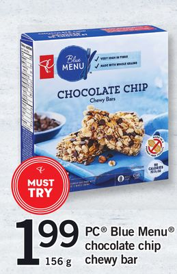 PC Blue Menu Chocolate Chip Chewy Bar - 156 g