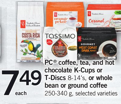 PC Coffee - Tea - And Hot Chocolate K-cups or T-discs - 8-14's - Or Whole Bean Or Ground Coffee - 250-340 g