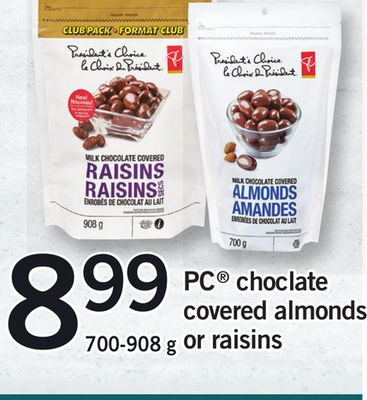 PC Chocolate Covered Almonds Or Raisins - 700-908 g