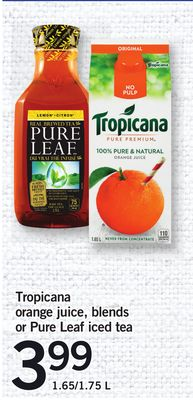 Tropicana Orange Juice - Blends Or Pure Leaf Iced Tea - 1.65/1.75 L