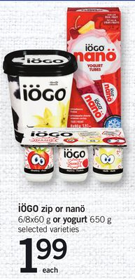 Iögo Zip Or Nanö 6/8x60 G Or Yogurt 650 G
