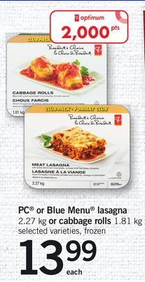 PC Or Blue Menu Lasagna - 2.27 Kg or Cabbage Rolls - 1.81 Kg