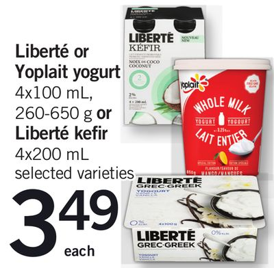 Liberté Or Yoplait Yogurt 4x100 Ml - 260-650 G Or Liberté Kefir - 4x200 Ml