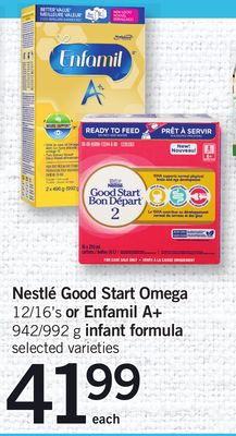 Nestlé Good Start Omega - 12/16's Or Enfamil A+ - 942/992 g Infant Formula