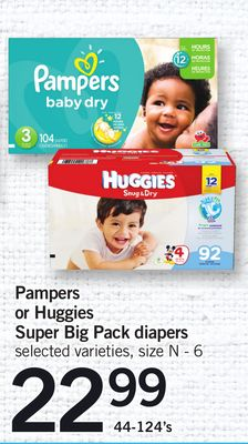 Pampers Or Huggies Super Big Pack Diapers - 44-124's