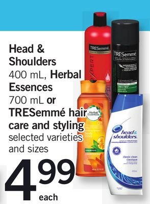 Head & Shoulders - 400 mL - Herbal Essences - 700 mL or Tresemmé Hair Care And Styling