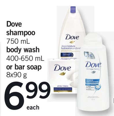 Dove Shampoo - 750 mL Body Wash - 400-650 mL or Bar Soap - 8x90 g