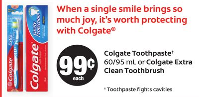 Colgate Toothpaste - 60/95 mL Or Colgate Extra Clean Toothbrush