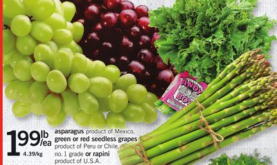 Asparagus - Green Or Red Seedless Grapes Or Rapini