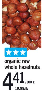 Organic Raw Whole Hazelnuts