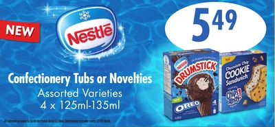 Confectionery Tubs Or Novelties - 4 X 125ml-135ml
