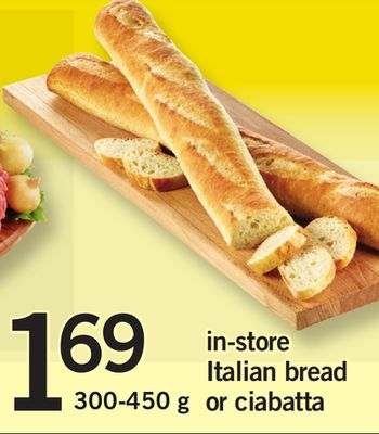 In-store Italian Bread Or Ciabatta - 300-450 g