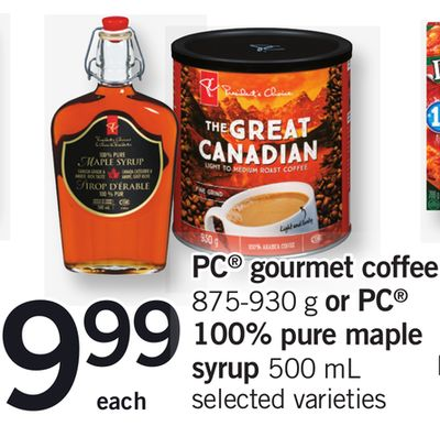 PC Gourmet Coffee - 875-930 G Or PC 100% Pure Maple Syrup - 500 Ml