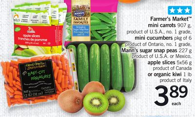 Farmer's Market Mini Carrots 907 G - Mini Cucumbers Pkg Of 6 - Mann's Sugar Snap Peas 227 G - Apple Slices 5x56 G Or Organic Kiwi 1 Lb