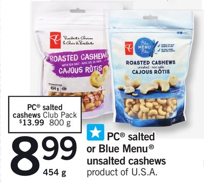 PC Salted Or Blue Menu Unsalted Cashews - 454 g