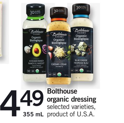 Bolthouse Organic Dressing - 355 mL