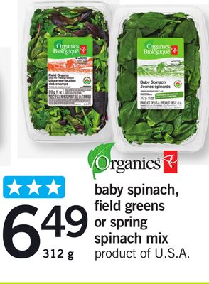 Baby Spinach - Field Greens Or Spring Spinach Mix - 312 g
