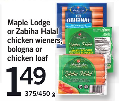 Maple Lodge Or Zabiha Halal Chicken Wieners - Bologna Or Chicken Loaf - 375/450 g
