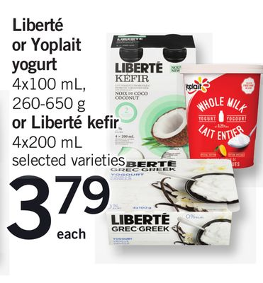 Liberté Or Yoplait Yogurt - 4x100 Ml - 260-650 G Or Liberté Kefir - 4x200 Ml
