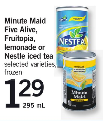Minute Maid Five Alive - Fruitopia - Lemonade Or Nestle Iced Tea - 295 mL