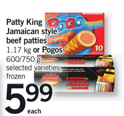 Patty King Jamaican Style Beef Patties - 1.17 Kg Or Pogos - 600/750 G