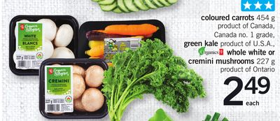 Coloured Carrots 454 g - Green Kale - Whole White Or Cremini Mushrooms 227 g