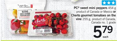 PC Sweet Mini Peppers 454 G Or Cherto Gourmet Tomatoes On The Vine 255 G