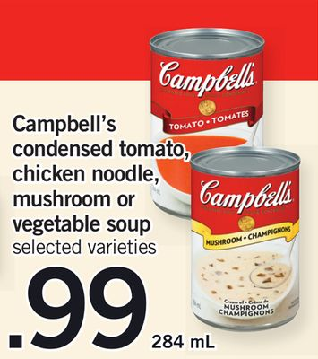 Campbell's Condensed Tomato - Chicken Noodle - Mushroom Or Vegetable Soup - 284 mL