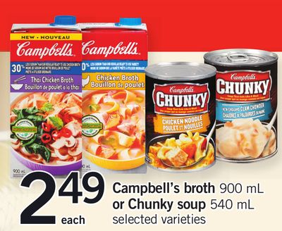 Campbell's Broth - 900 mL or Chunky Soup - 540 mL