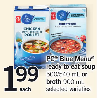 PC Blue Menu Ready To Eat Soup - 500/540 Ml Or Broth - 900 Ml