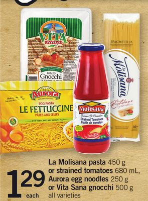 La Molisana Pasta 450 G Or Strained Tomatoes 680 Ml - Aurora Egg Noodles 250 G Or Vita Sana Gnocchi 500 G