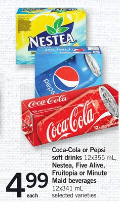 Coca-cola Or Pepsi Soft Drinks - 12x355 Ml - Nestea - Five Alive - Fruitopia Or Minute Maid Beverages - 12x341 Ml