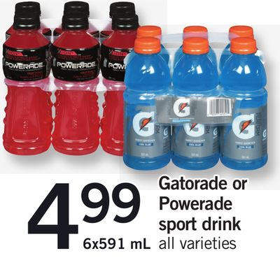 Gatorade Or Powerade Sport Drink - 6x591 mL