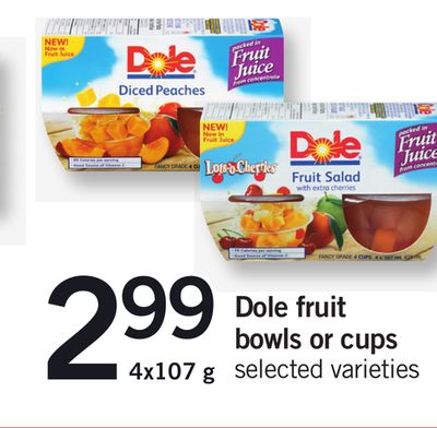 Dole Fruit Bowls Or Cups - 4x107 g