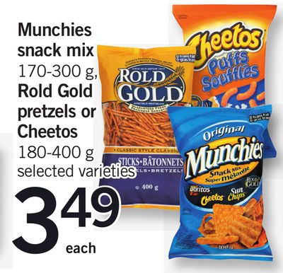 Munchies Snack Mix - 170-300 G - Rold Gold Pretzels Or Cheetos - 180-400 G
