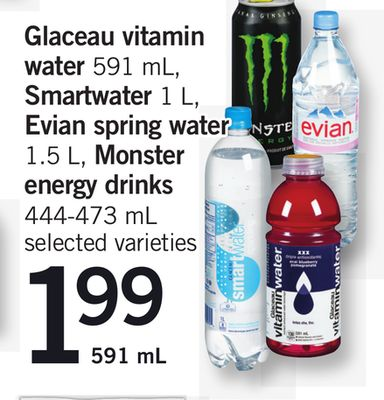 Glaceau Vitamin Water - 591 Ml - Smartwater - 1 L - Evian Spring Water - 1.5 L - Monster Energy Drinks - 444-473 Ml