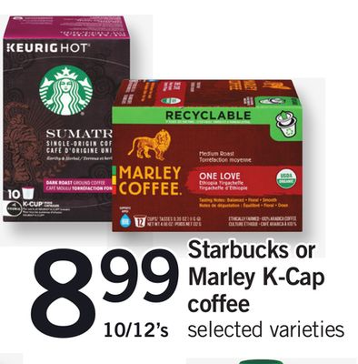 Starbucks Or Marley K-cap Coffee - 10/12's