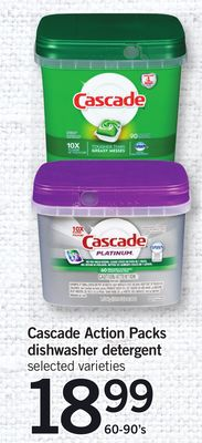 Cascade Action Packs Dishwasher Detergent - 60-90's
