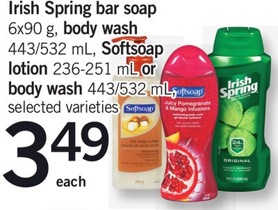 Irish Spring Bar Soap - 6x90 g - Body Wash - 443/532 mL - Softsoap Lotion - 236-251 mL Or Body Wash - 443/532 mL