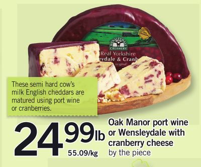 Oak Manor Port Wine Or Wensleydale With Cranberry Cheese