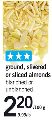 Ground - Slivered Or Sliced Almonds - 220/100 g